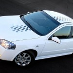 Astra White Checkered Flag Top View Wallpaper
