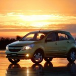 Chevrolet Agile Yellow Front Angle Wallpaper